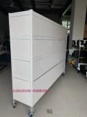 客製化白色角鋼+白色貼皮封板+角鋼輪